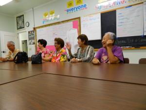 Alumni Renee Thronas, Elsie Koigawachi, Shirley Akita, and Elsie Ishida share their reunion stories with the Foundation board.