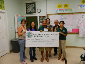 Math Teachers Kathryn Bailey, Gigi Drent and Fawn Perry accept $3700 from Foundation President Art Fujita, Principal Daniel Hamada and board member Barbara Yamane
