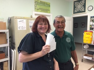 Vice Principal Diane  Ayre accepts check From Foundation President Art Fujita in behalf of Peer Mediation Team