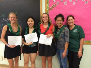 From left to right: Shania Weiss, Kelsie Lima, Cassidy Yatsko, Kekai Gonslaves, and Foundation Scholarship Committee Chair Michelle Domingcil
