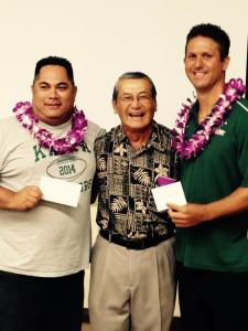 Mr Calvin Paleka and Mr. Kahele Keawe is congratulated by Foundation President Art Fujita