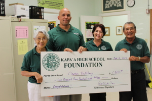 Coach Micah Mokuahi accepts check from Foundation Board members Barbara Yamane, Shellie Domingsel, and Art Fujita