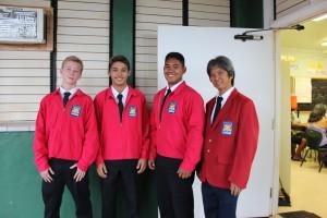 Tieman Kehoe, Mason Silva, Braxton Ah Nee, and Advisor Ryne Terao attend Foundation meeting