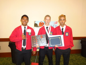 Junior Tieman Kehoe(center) took 2nd place in 2016 Skills USA competition. He received a $7500 scholarship to Universal Technical Institute and a $1000 per semester grant to attend any University of Hawaii Community College Automotive Program.